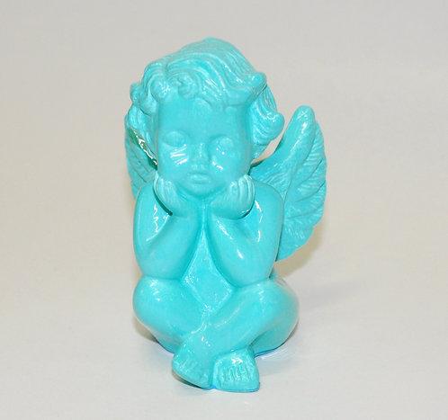 Anjinho pequeno em gesso porcelanizado cor Tiffany