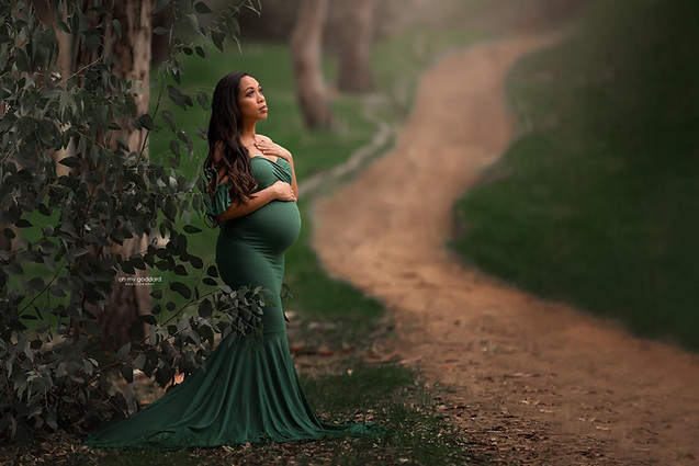 Gown in evergreen