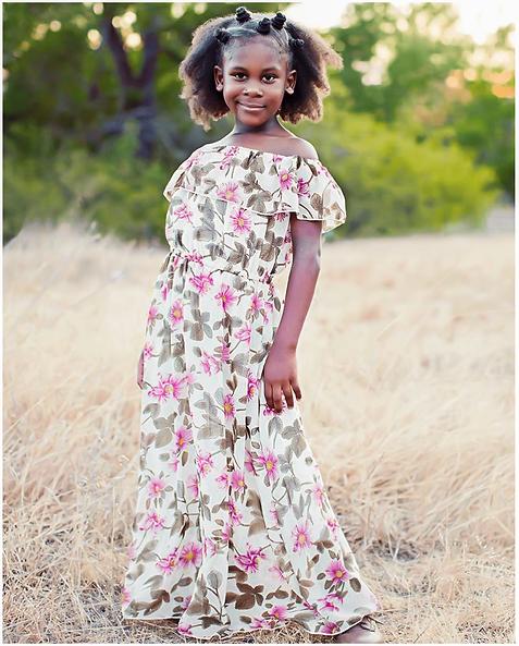 Elizabeth Flutter Sleeve Maxi Dress -Pink and Olive Floradl
