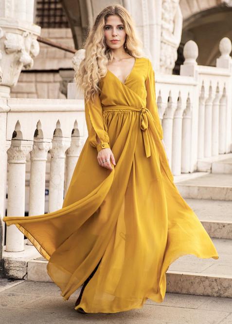 Joyfolie Aniya Gown in Marigold