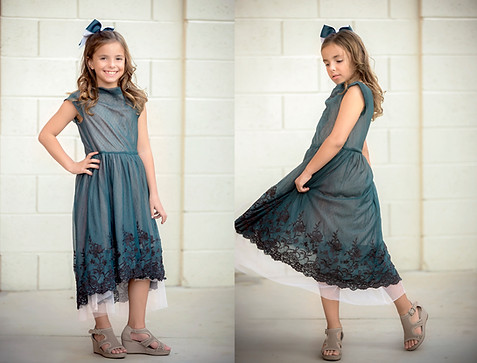 Joyfolie dark green lace and tule dress, high to low in sizes 6-10.