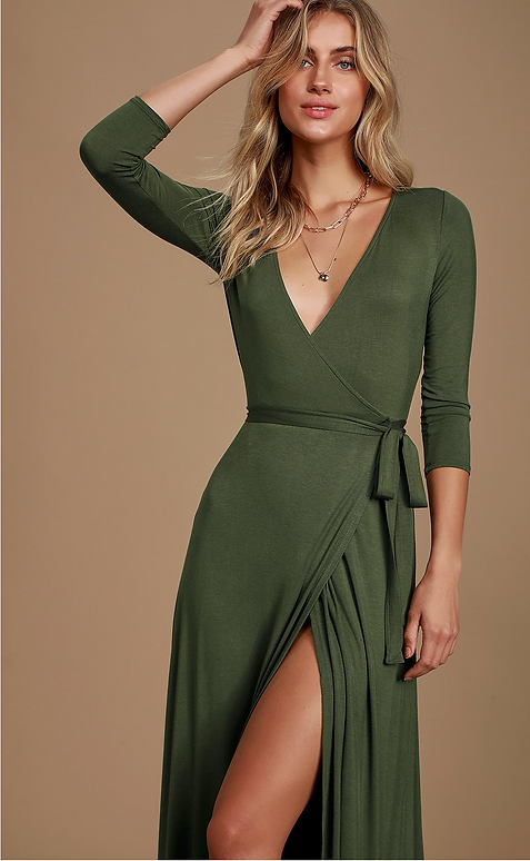 Garden District Olive Green Wrap Maxi Dress