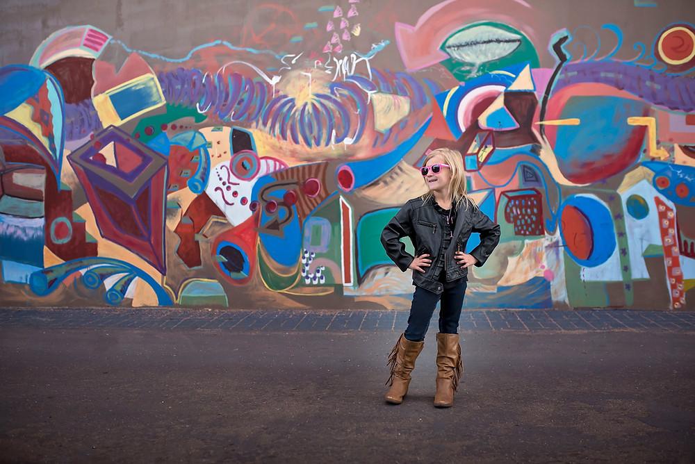 Birthday Rockstar photoshoot downtown with graffiti walls