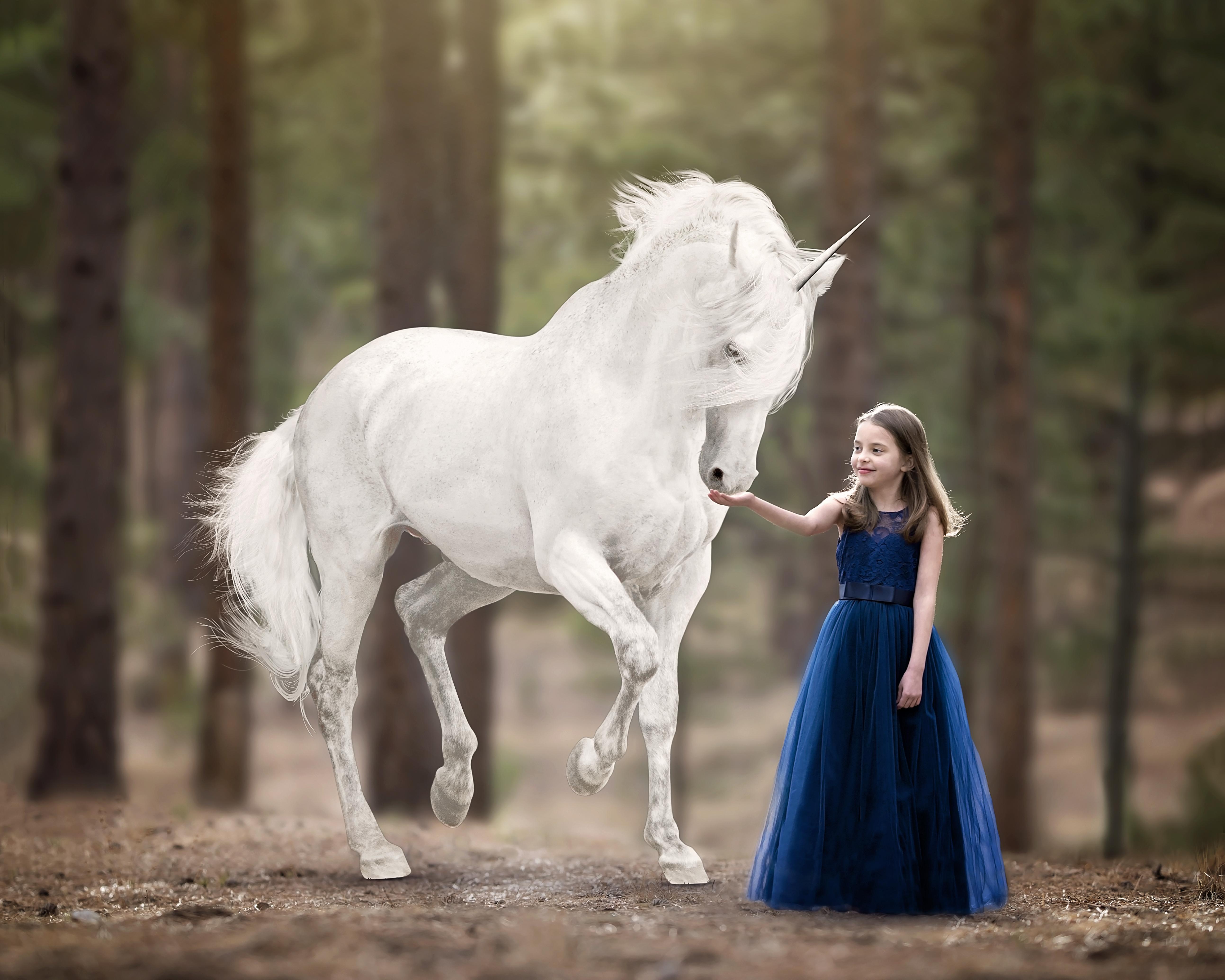 Sweet Girl and Unicorn Imagination