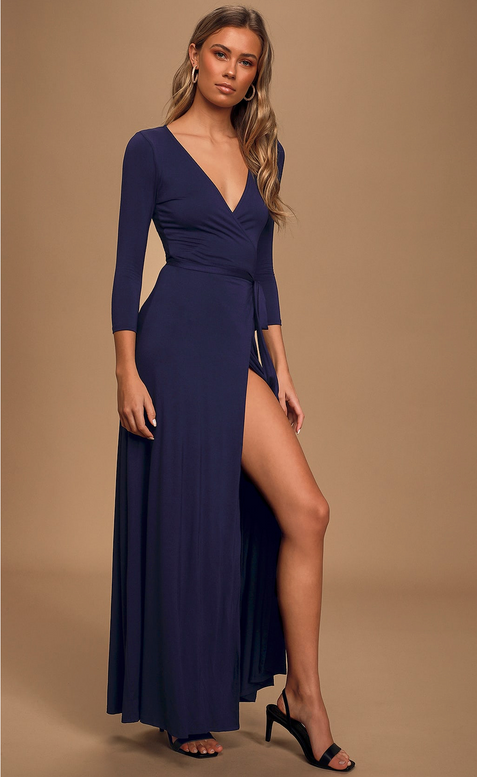 Garden District Navy Blue Wrap Maxi Dress