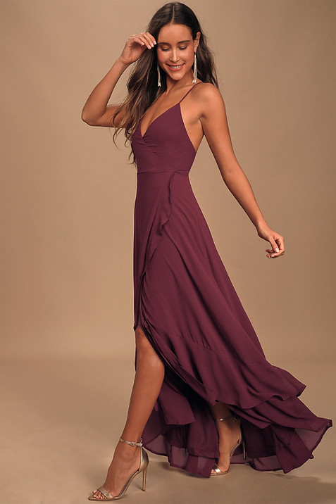 In Love Forever Plum Lace-Up High-Low Maxi Dress
