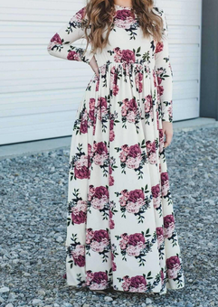 Ashley Log Sleeve Maxi Dress - Ivory & Mauve Floral