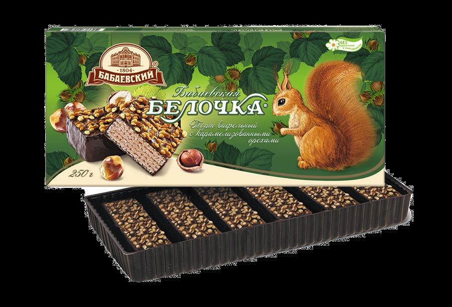 Тортик вафельный ,Бабаевская БЕЛОЧКА  с карамелизованными орехами. 250гр