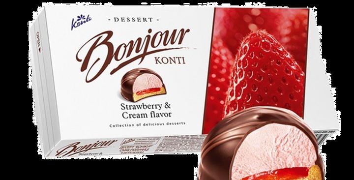десерт BONJOUR клубника со сливками 232гр