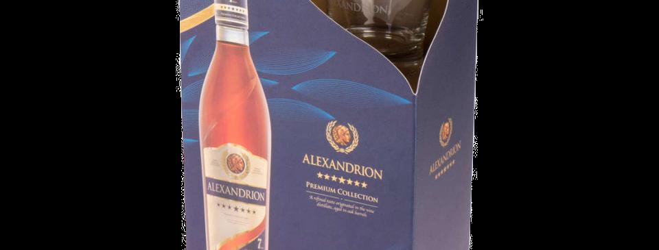 Подарочный набор Premium Collection ALEXANDRION 7* (0,7l+2 бок.)