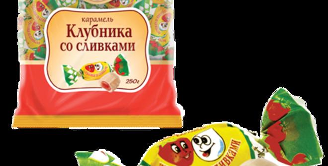 карамель КЛУБНИКА СО СЛИВКАМИ 250 гр