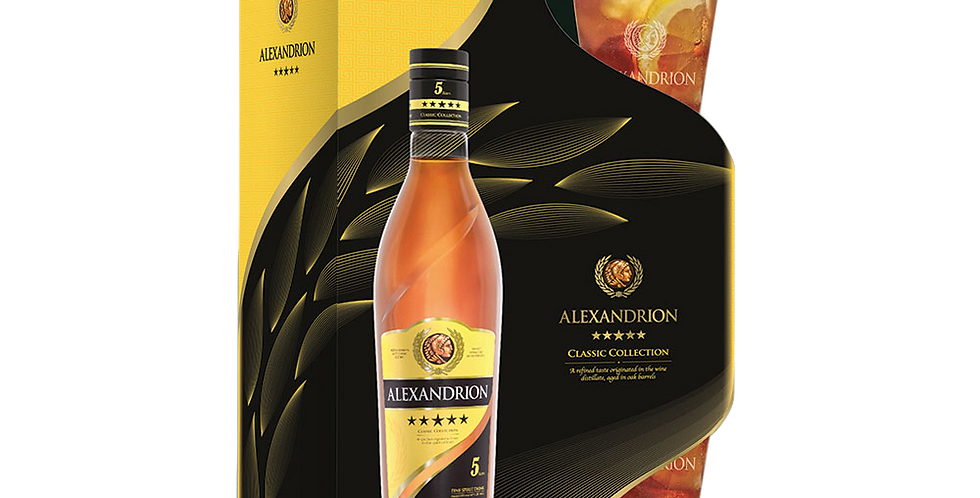 Подарочный набор Classic Collection ALEXANDRION 5* (0,7l+2 бок.)