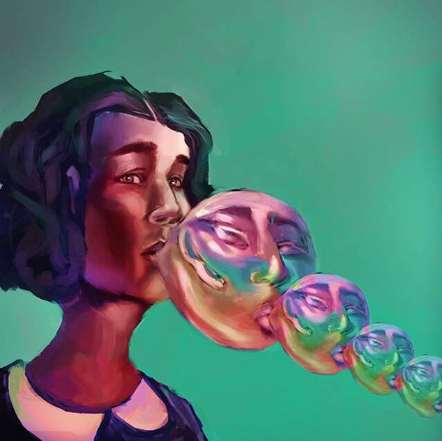 Just a girl blowing some bubbles that ar