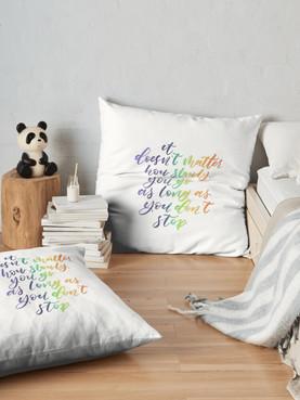 Handlettered Floor Pillow