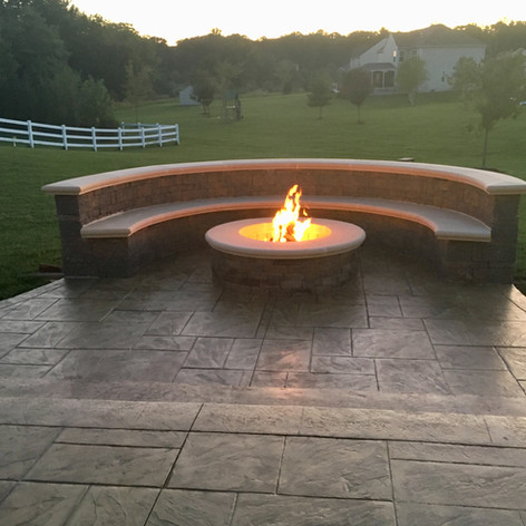 Stamped Concrete Fire Pits by Greystone Masonry