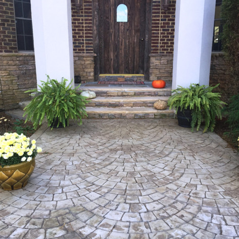 Stamped Concrete Front Stoop Designs by Greystone Masonry