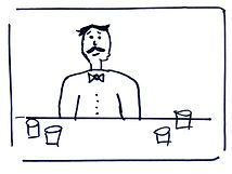 A storyboard example including a bad sketch of a man with a moustache.
