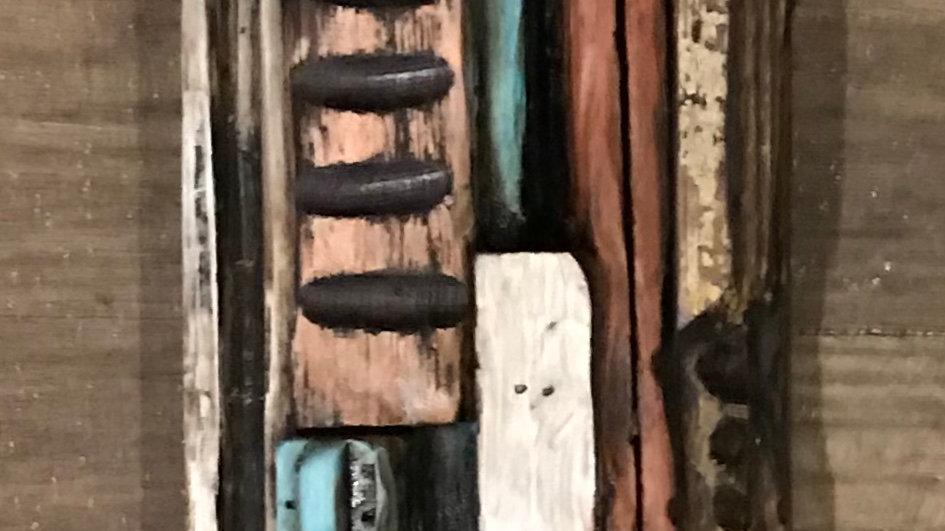 16 x 4 inch wooden quilt w/ vintage hardware