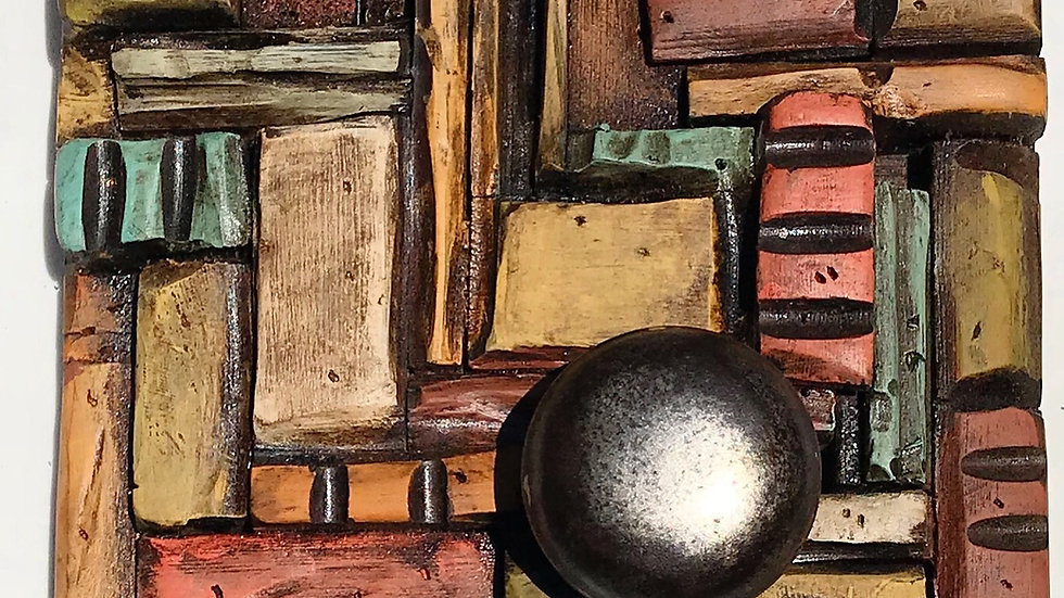 8 inch square wooden quilt  w/ vintage door knob
