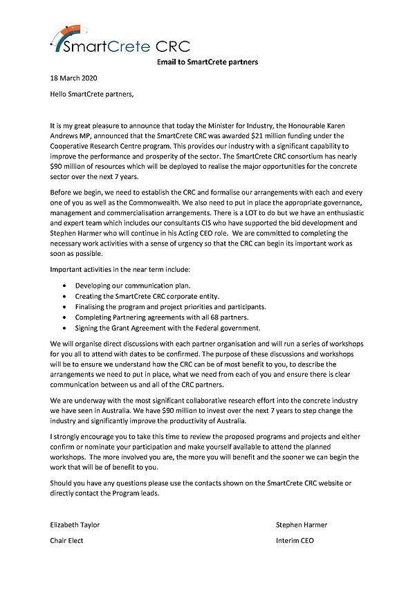 Announcement Email to SmartCrete Partner