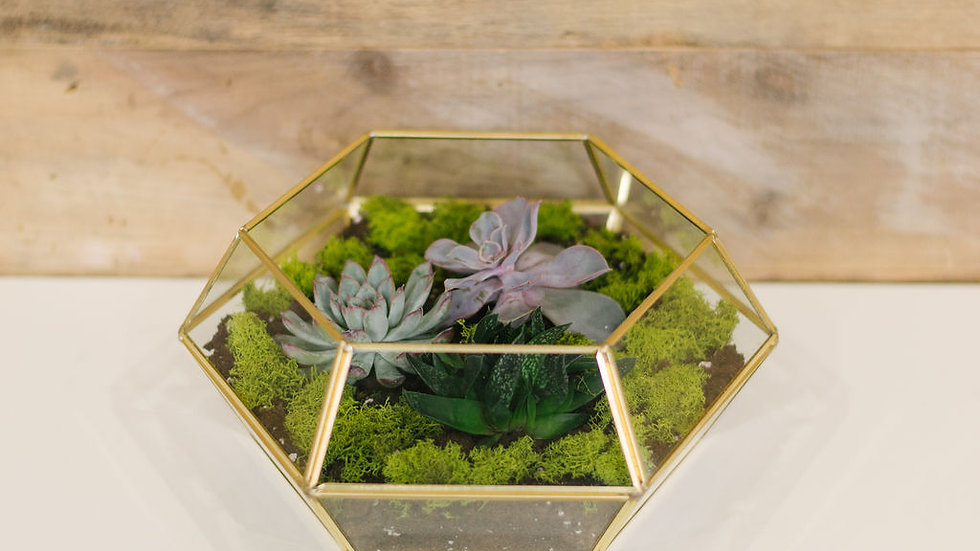 Geometric Open Planter - Gold