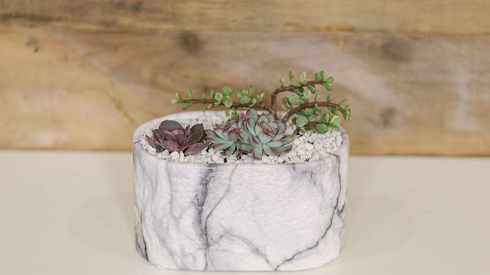 Small Oval Marble Planter