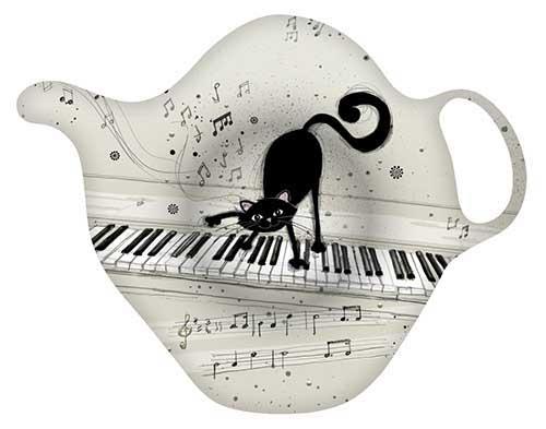 Porte-sachet de thé - Chat piano