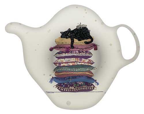 Porte-sachet de thé - Chat livre