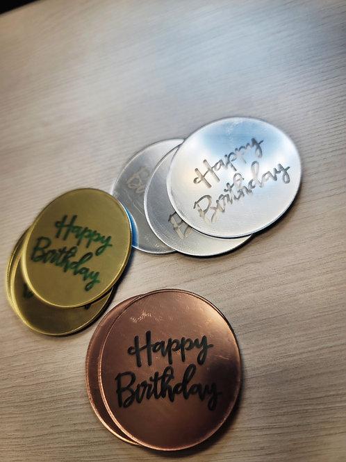 Happy Birthday ACRYLIC CUPCAKE TOPPERS 3pk