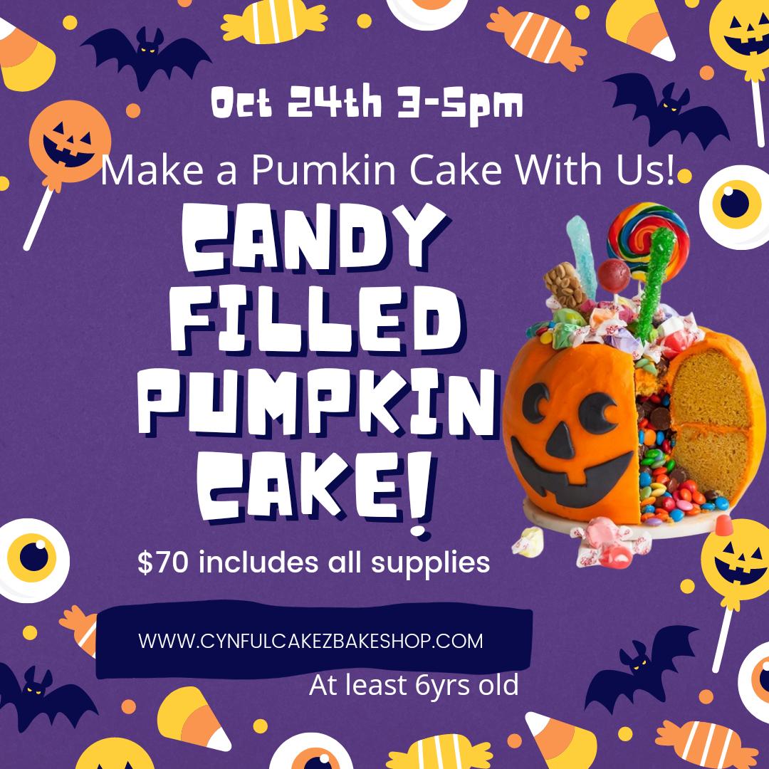 Candy Filled Pumkin Cake Class