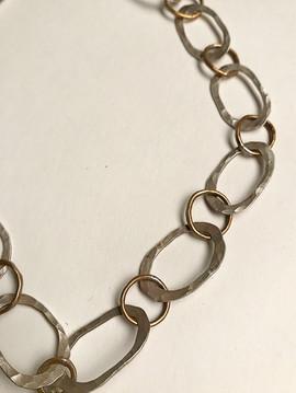 handmade chain in sterling & brass