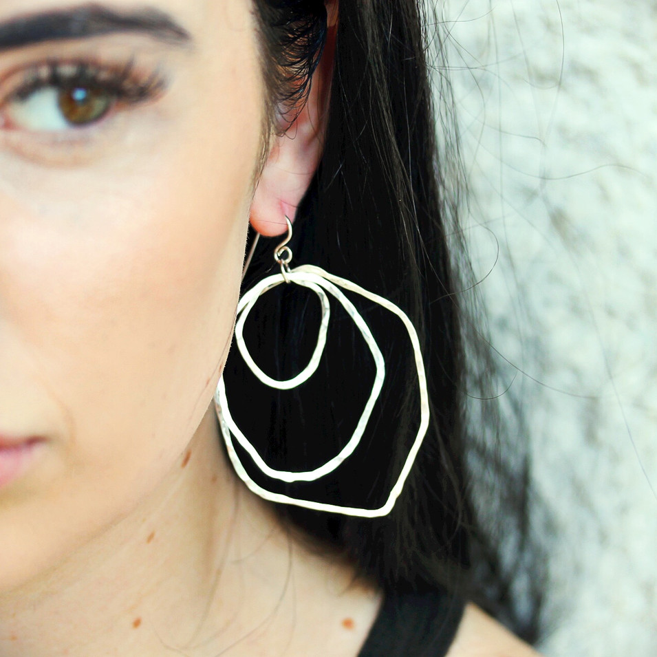 Round and Round Earrings- Sterling Silver