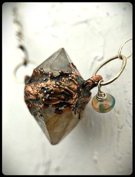 herkimer diamond with opal