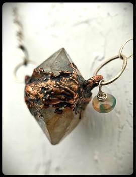 herkimer diamond with opal