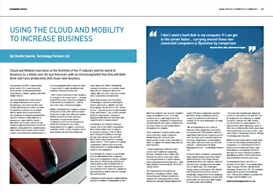 Using the Cloud and Mobility to Increase Business - article written for Technology Partners. Published in Economic Focus.