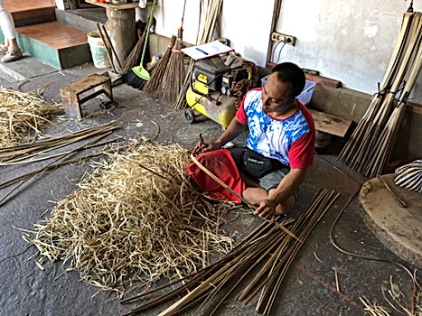 cutting bamboo by hand