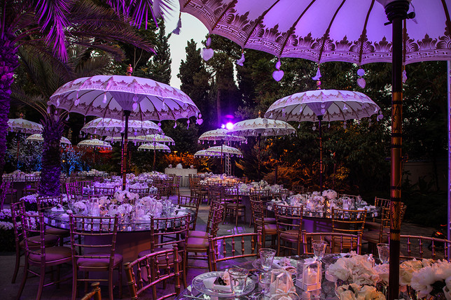 Fairytail wedding setting with our tailored umbrellas
