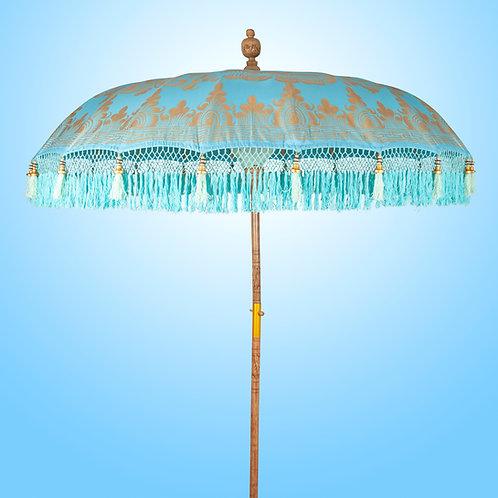 Blue and gold bali parasol new unique design by Bali Parasol.com