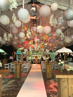 Event decoration with table tops parasols
