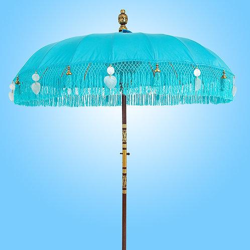 Blue fringed balinese parasols