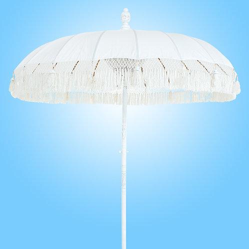 WHITE FRINGED - Bali Parasol original