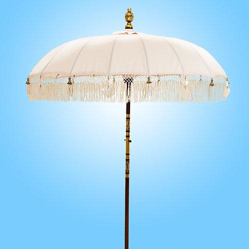 Natural Serene Fringed Bali Parasol original Balinese umbrellas
