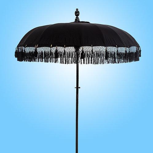 Black Serene Fringed Bali Parasol original Balinese umbrella