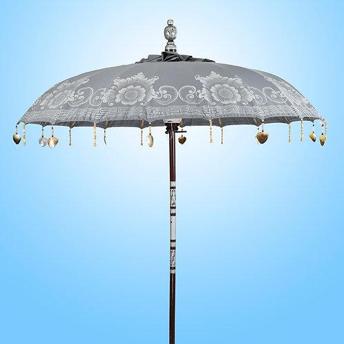 silver grey or zilver grijs bali parasol handmade in Bali