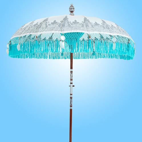 wit turquoise balinese parasol van Bali Parasol . com