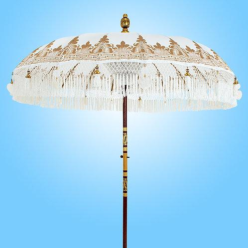 white fringed Balinese parasol high quality
