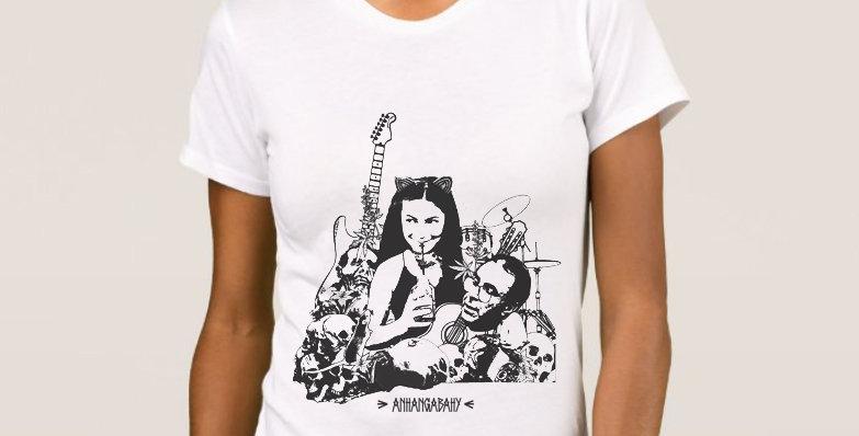 "Camiseta Feminina Baby Look ""Carpe Noctem"" Branco"