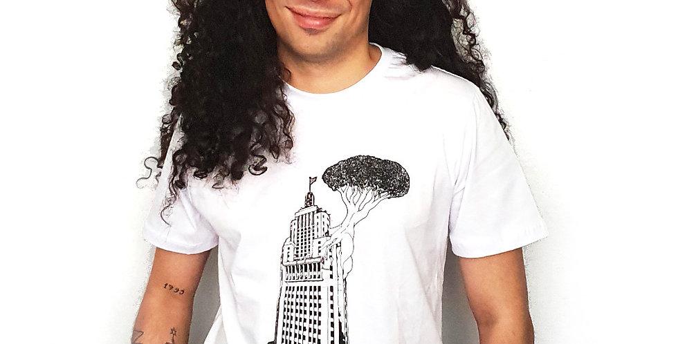 """Camiseta Algodão Orgânico """"Banespão"""" Branco"""