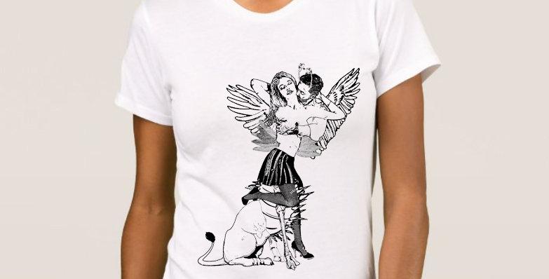 """Camiseta Feminina Baby Look """"Quimérica"""" Branca"""