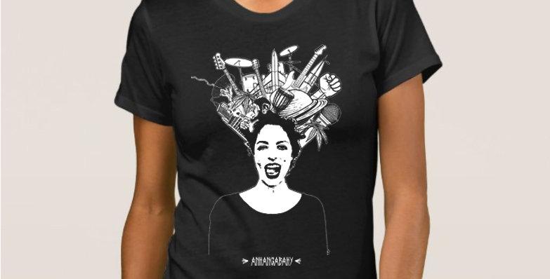 """Camiseta Feminina Baby Look """"Bagunça Bonita"""" Preta"""